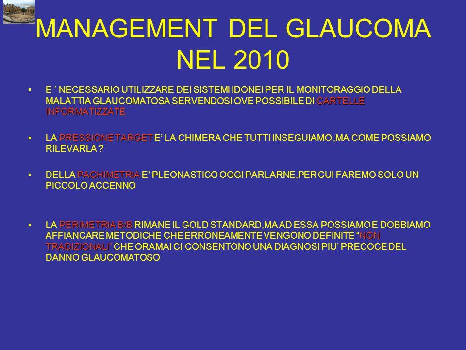 MANAGEMENT DEL GLAUCOMA NEL 2010 CARTELLE INFORMATIZZATEE NECESSARIO UTILIZZARE DEI SISTEMI IDONEI PER IL MONITORAGGIO DELLA MALATTIA GLAUCOMATOSA SER