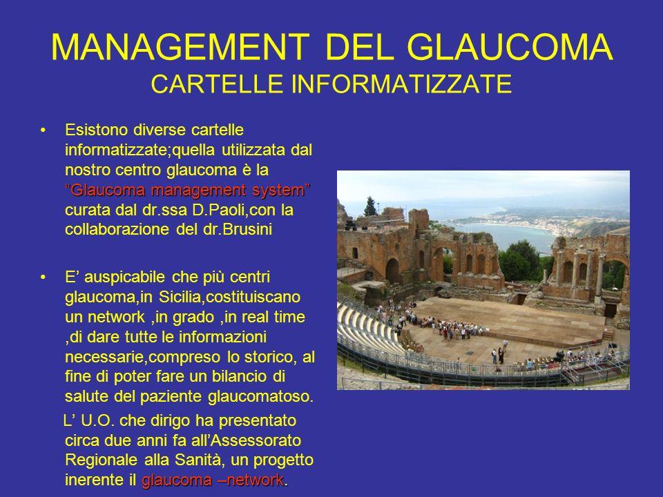 MANAGEMENT DEL GLAUCOMA CARTELLE INFORMATIZZATE Glaucoma management systemEsistono diverse cartelle informatizzate;quella utilizzata dal nostro centro