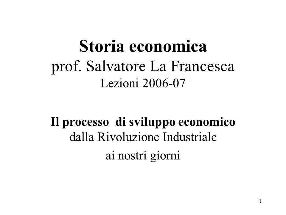 1 Storia economica prof. Salvatore La Francesca Lezioni 2006-07 Il processo di sviluppo economico dalla Rivoluzione Industriale ai nostri giorni