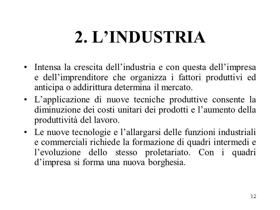 12 2. LINDUSTRIA Intensa la crescita dellindustria e con questa dellimpresa e dellimprenditore che organizza i fattori produttivi ed anticipa o addiri