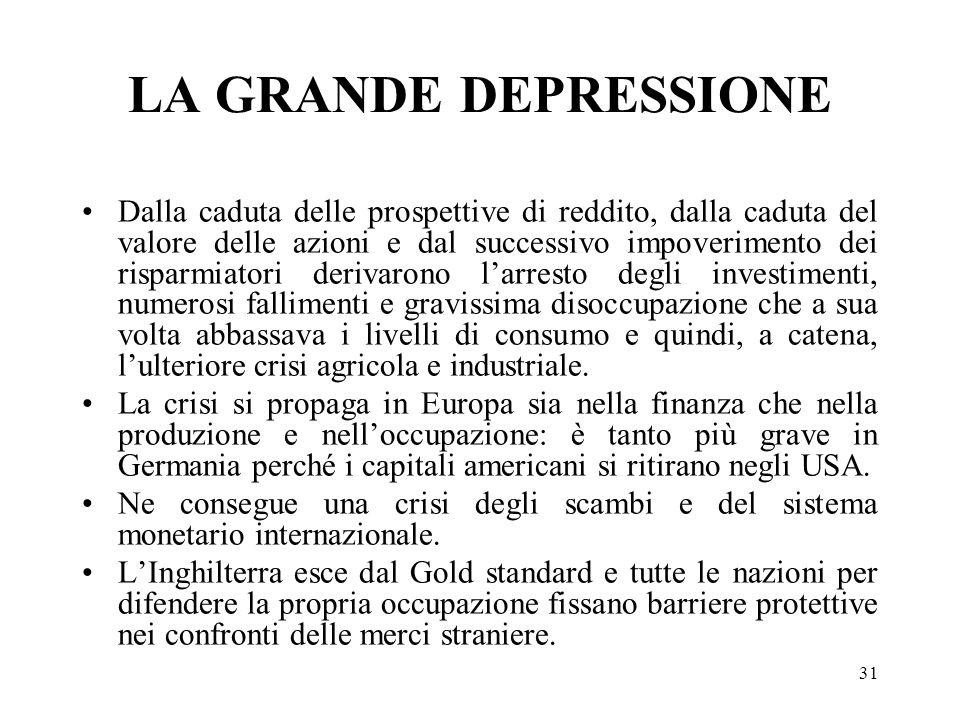 31 LA GRANDE DEPRESSIONE Dalla caduta delle prospettive di reddito, dalla caduta del valore delle azioni e dal successivo impoverimento dei risparmiat