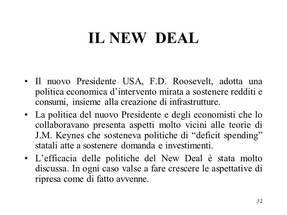 32 IL NEW DEAL Il nuovo Presidente USA, F.D. Roosevelt, adotta una politica economica dintervento mirata a sostenere redditi e consumi, insieme alla c