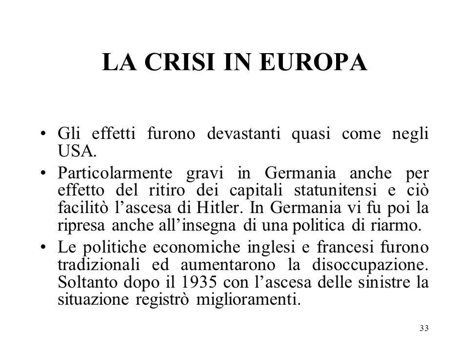 33 LA CRISI IN EUROPA Gli effetti furono devastanti quasi come negli USA. Particolarmente gravi in Germania anche per effetto del ritiro dei capitali