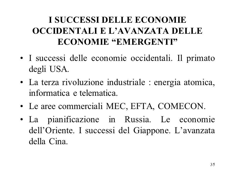35 I SUCCESSI DELLE ECONOMIE OCCIDENTALI E LAVANZATA DELLE ECONOMIE EMERGENTI I successi delle economie occidentali. Il primato degli USA. La terza ri