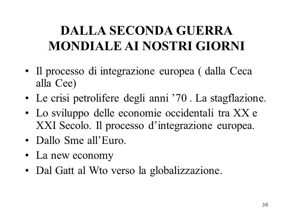 36 DALLA SECONDA GUERRA MONDIALE AI NOSTRI GIORNI Il processo di integrazione europea ( dalla Ceca alla Cee) Le crisi petrolifere degli anni 70. La st