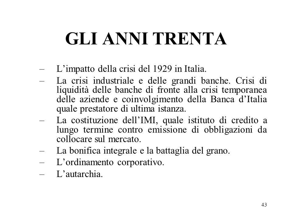 43 GLI ANNI TRENTA –Limpatto della crisi del 1929 in Italia. –La crisi industriale e delle grandi banche. Crisi di liquidità delle banche di fronte al