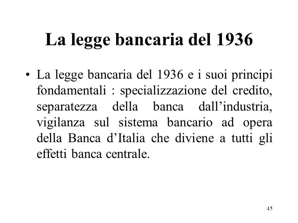 45 La legge bancaria del 1936 La legge bancaria del 1936 e i suoi principi fondamentali : specializzazione del credito, separatezza della banca dallin
