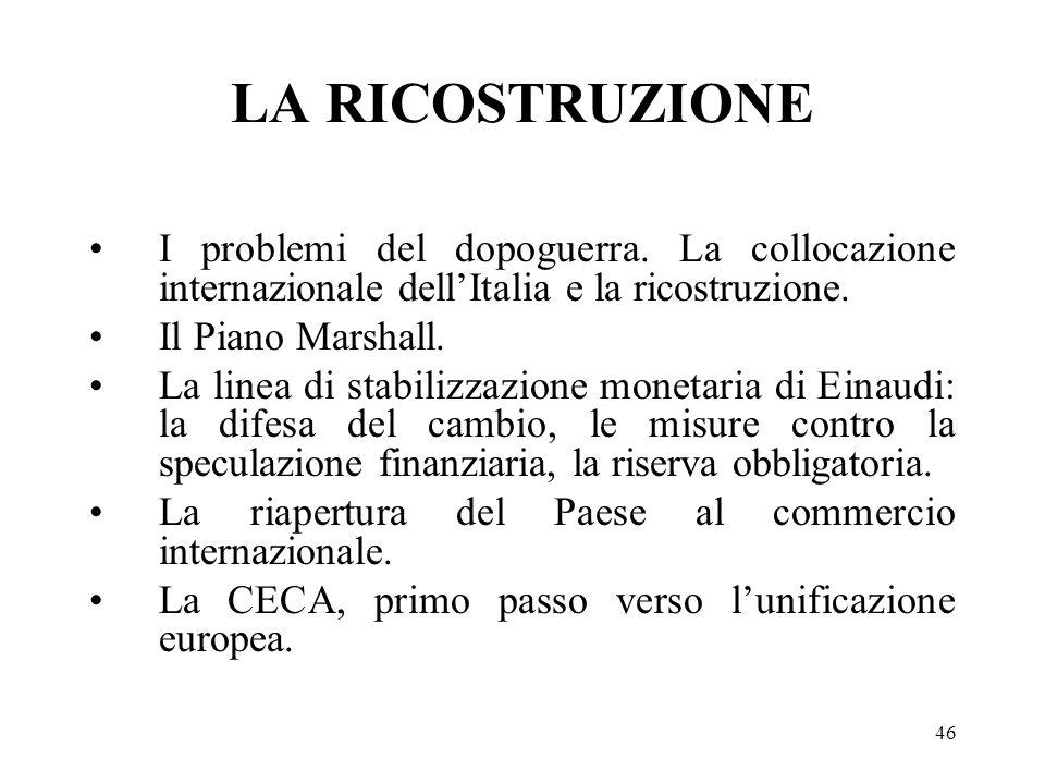 46 LA RICOSTRUZIONE I problemi del dopoguerra. La collocazione internazionale dellItalia e la ricostruzione. Il Piano Marshall. La linea di stabilizza