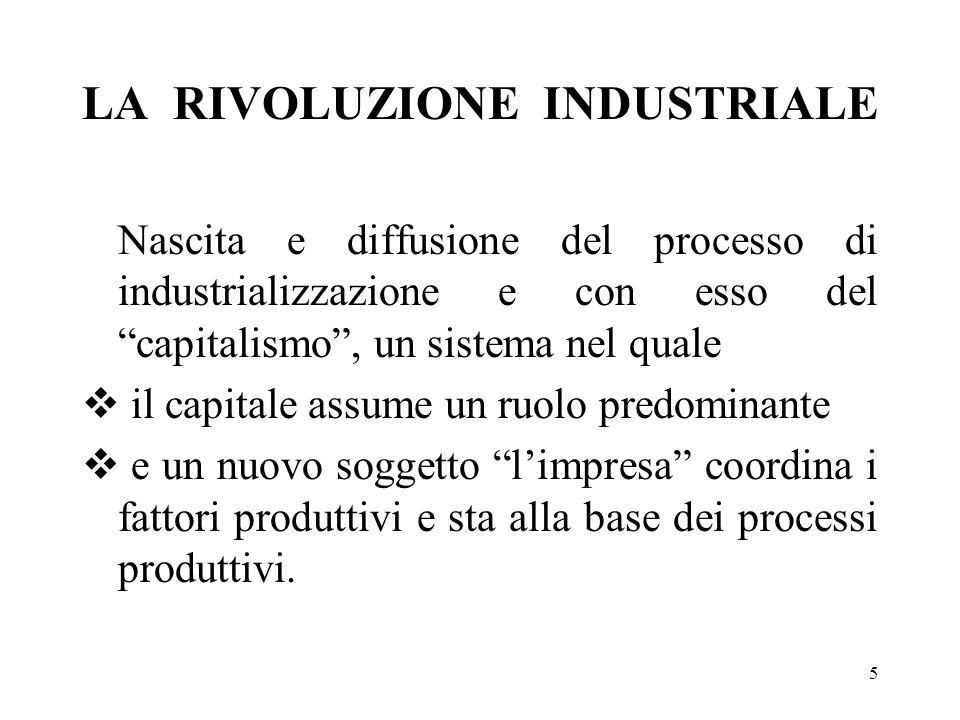 5 LA RIVOLUZIONE INDUSTRIALE Nascita e diffusione del processo di industrializzazione e con esso del capitalismo, un sistema nel quale il capitale ass