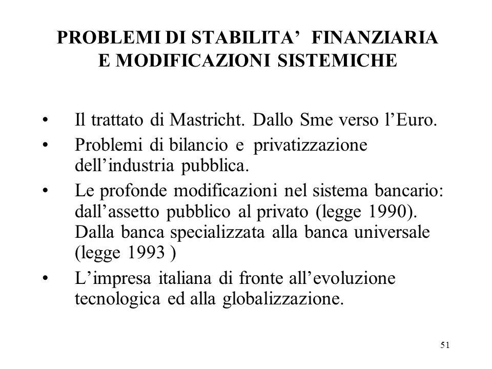 51 PROBLEMI DI STABILITA FINANZIARIA E MODIFICAZIONI SISTEMICHE Il trattato di Mastricht. Dallo Sme verso lEuro. Problemi di bilancio e privatizzazion