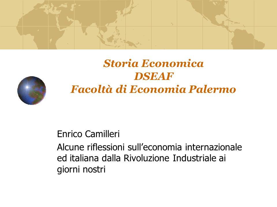 Storia Economica DSEAF Facoltà di Economia Palermo Enrico Camilleri Alcune riflessioni sulleconomia internazionale ed italiana dalla Rivoluzione Indus