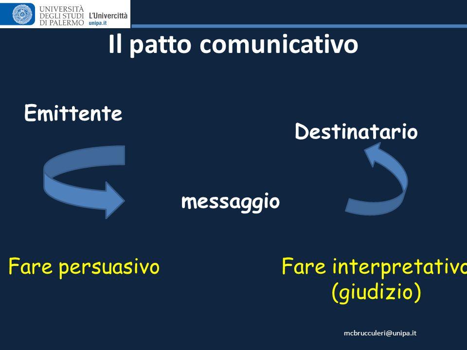 mcbrucculeri@unipa.it Il patto comunicativo Emittente messaggio Destinatario Fare persuasivoFare interpretativo (giudizio)