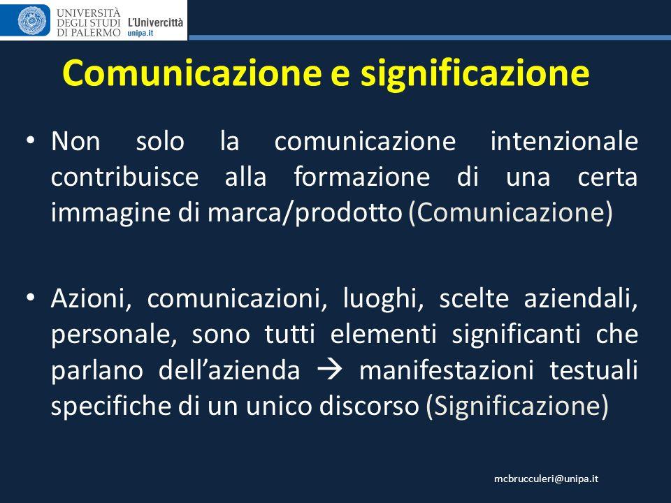 mcbrucculeri@unipa.it Comunicazione e significazione Non solo la comunicazione intenzionale contribuisce alla formazione di una certa immagine di marc