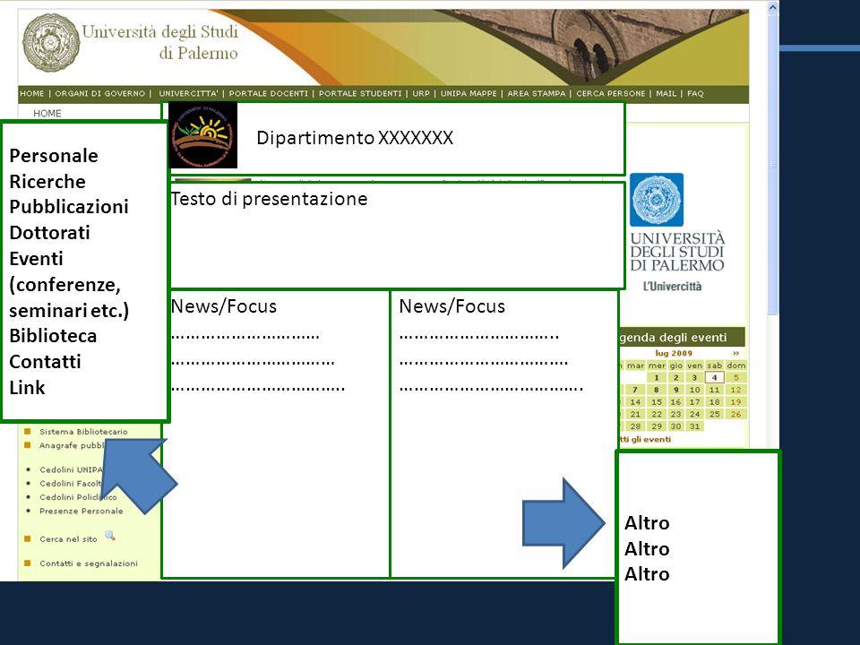Dipartimento XXXXXXX Testo di presentazione News/Focus ………………………… …………………………… …………………………….. News/Focus ………………………….. ……………………………. ………………………………. Persona