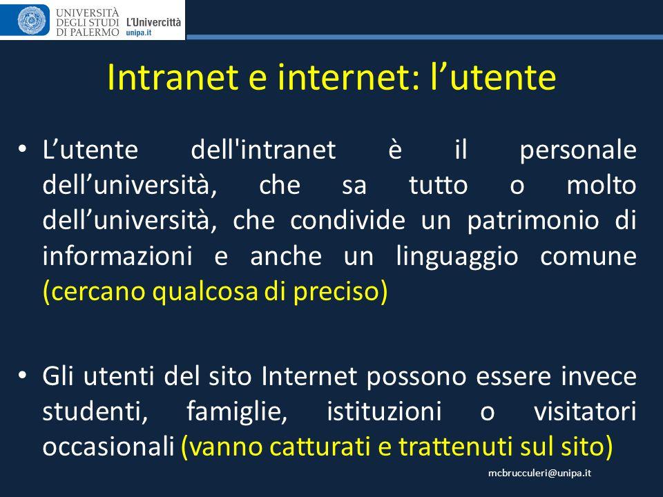 mcbrucculeri@unipa.it Intranet e internet: lutente Lutente dell'intranet è il personale delluniversità, che sa tutto o molto delluniversità, che condi
