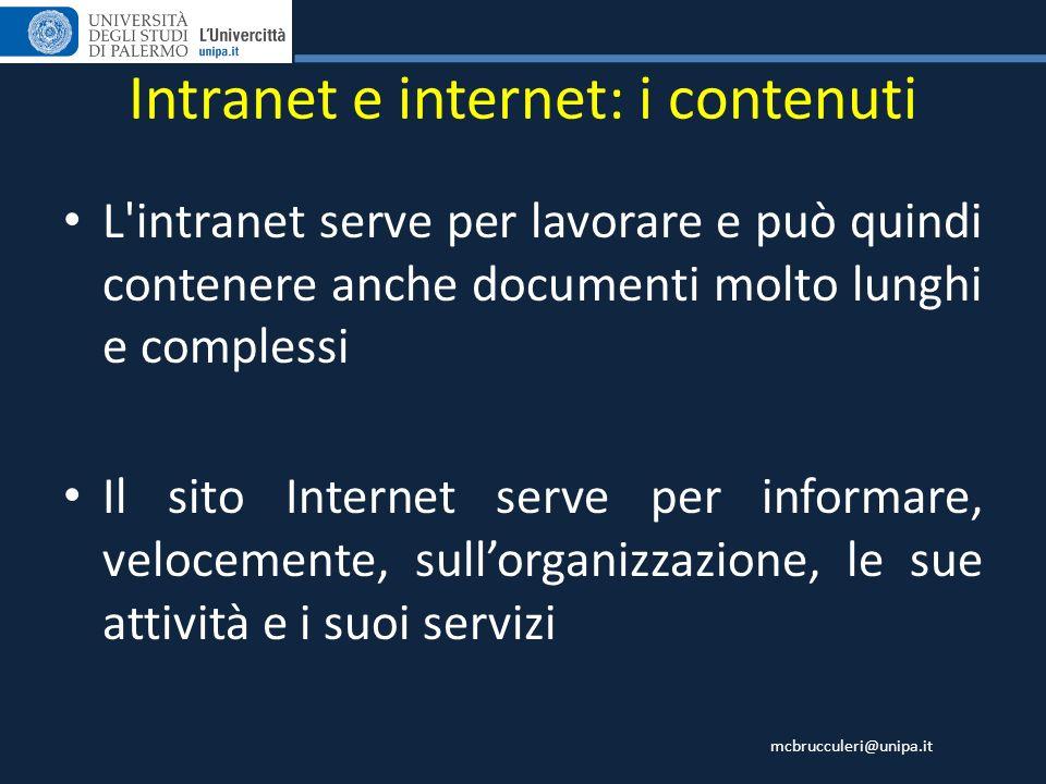 mcbrucculeri@unipa.it L'intranet serve per lavorare e può quindi contenere anche documenti molto lunghi e complessi Il sito Internet serve per informa