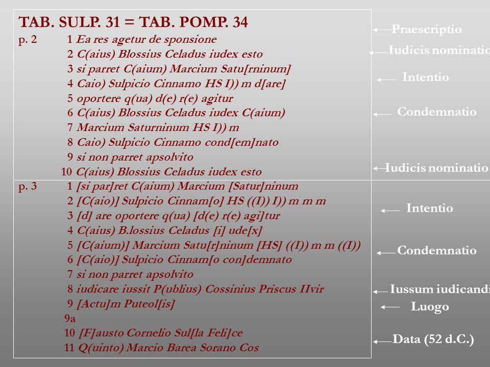 TAB. SULP. 31 = TAB. POMP. 34 p. 2 1 Ea res agetur de sponsione 2 C(aius) Blossius Celadus iudex esto 3 si parret C(aium) Marcium Satu[rninum] 4 Caio)