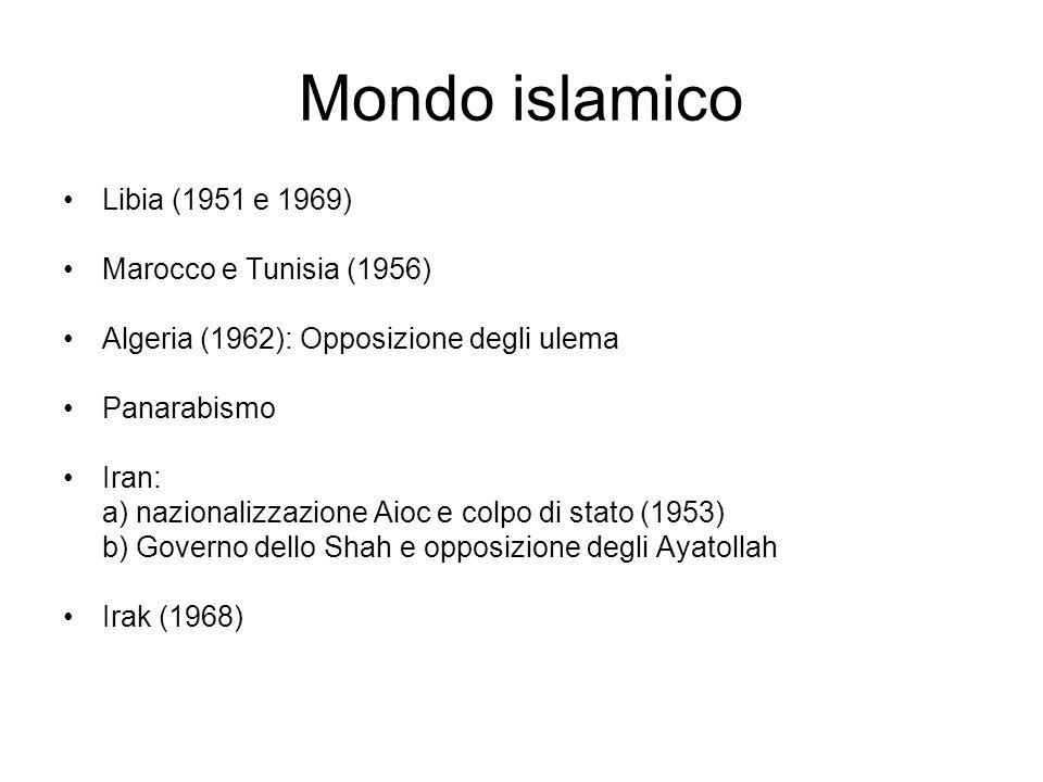 Mondo islamico Libia (1951 e 1969) Marocco e Tunisia (1956) Algeria (1962): Opposizione degli ulema Panarabismo Iran: a) nazionalizzazione Aioc e colp