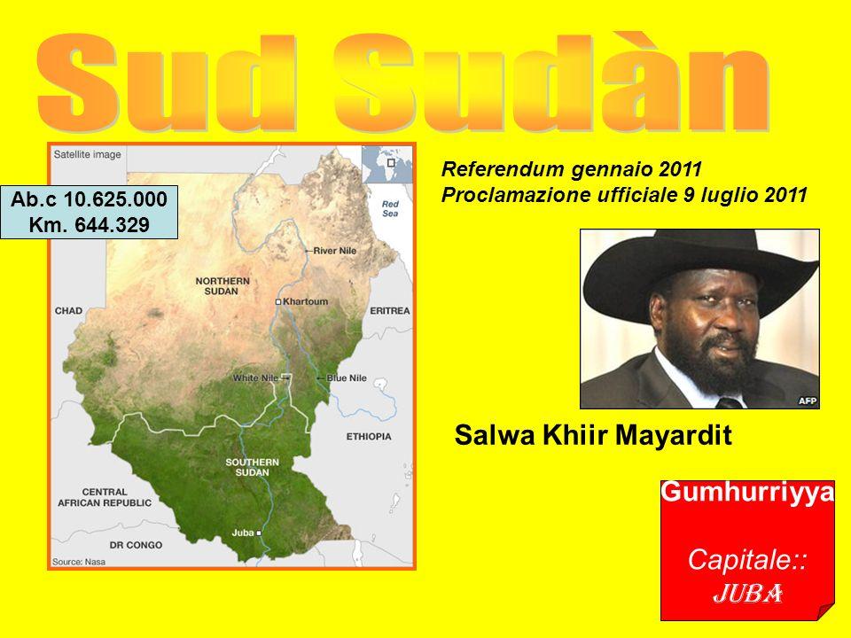Gumhurriyya Capitale:: Juba Salwa Khiir Mayardit Ab.c 10.625.000 Km.