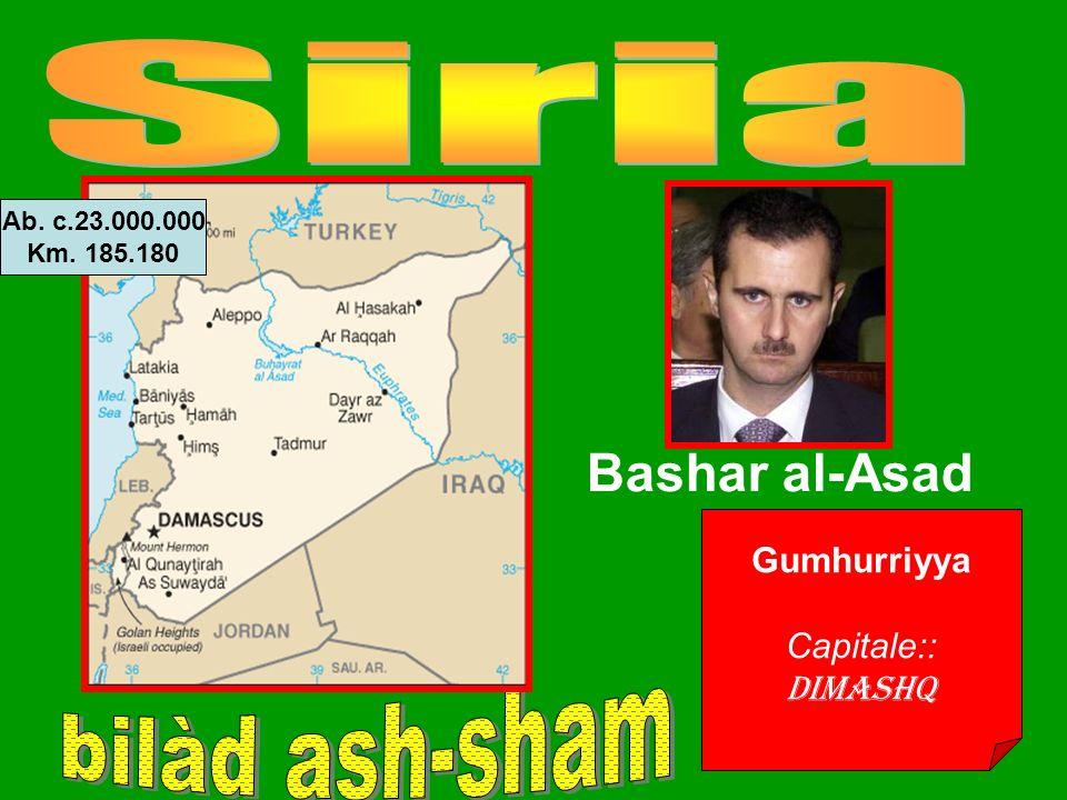 Gumhurriyya Capitale:: Dimashq Bashar al-Asad Ab. c.23.000.000 Km. 185.180