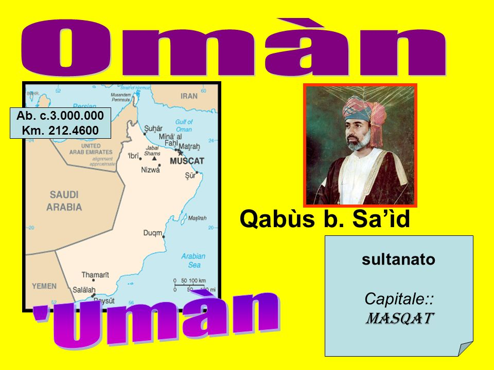 sultanato Capitale:: Masqat Qabùs b. Saìd Ab. c.3.000.000 Km. 212.4600
