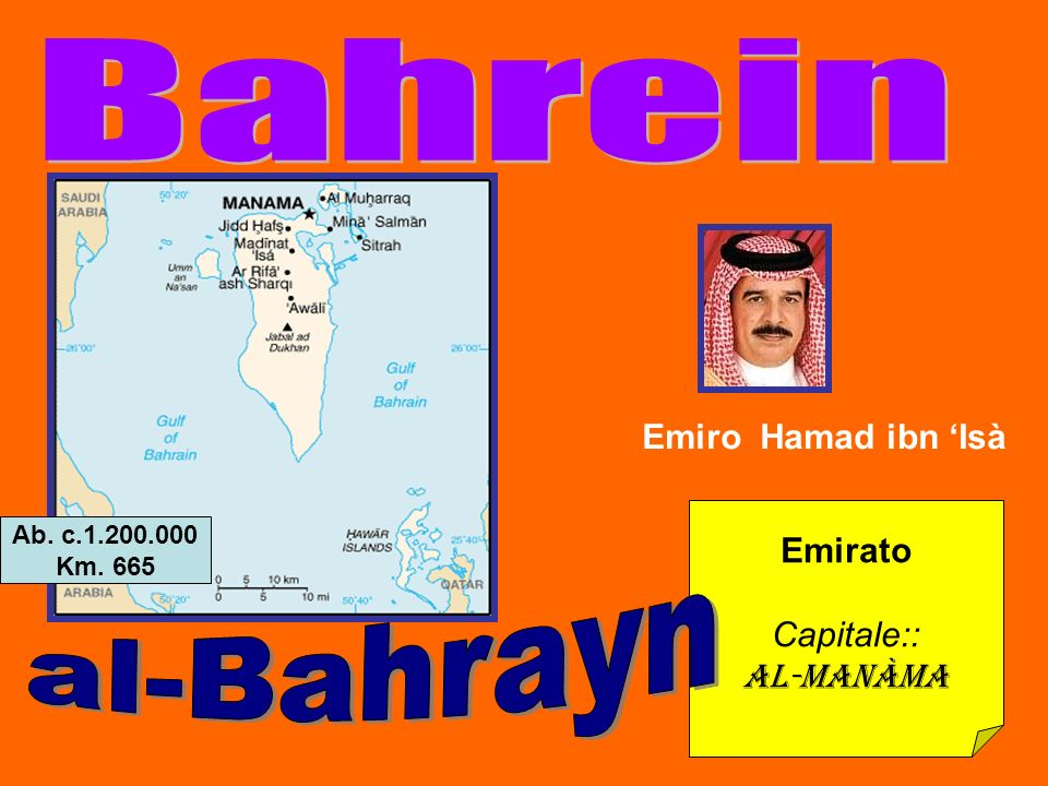 Emirato Capitale:: Al-Manàma Emiro Hamad ibn Isà Ab. c.1.200.000 Km. 665