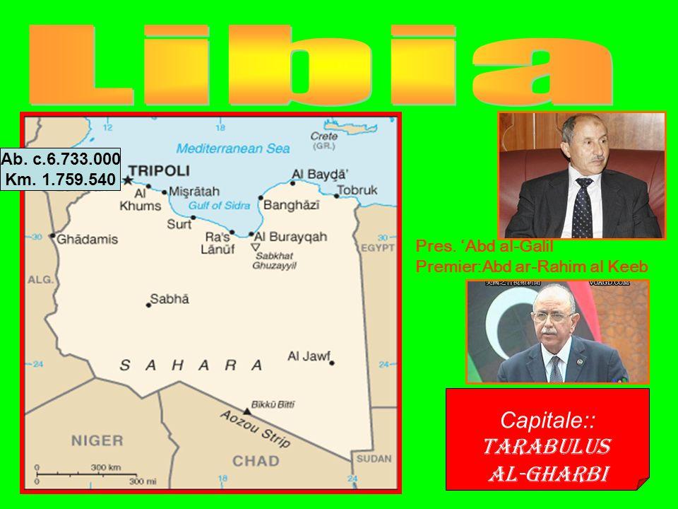 Capitale:: Tarabulus al-gharbi Ab. c.6.733.000 Km.