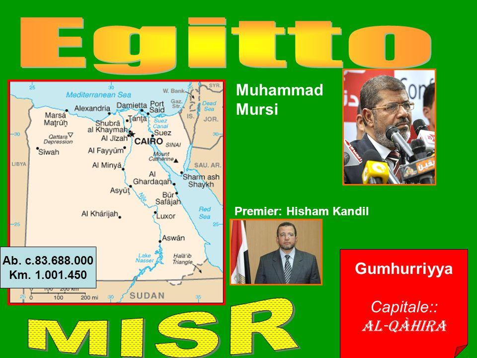 Gumhurriyya Capitale:: Al-Qàhira Ab. c.83.688.000 Km.