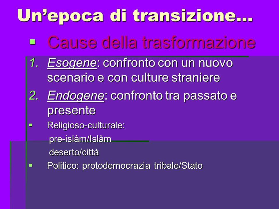 Unepoca di transizione… Caratteristiche Caratteristiche 1.