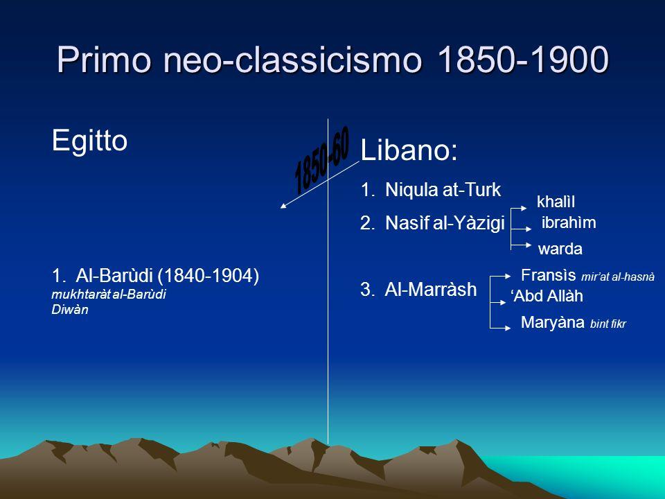 Primo neo-classicismo 1850-1900 Libano: 1.Niqula at-Turk 2.Nasìf al-Yàzigi 3.Al-Marràsh Egitto 1.Al-Barùdi (1840-1904) mukhtaràt al-Barùdi Diwàn khalì