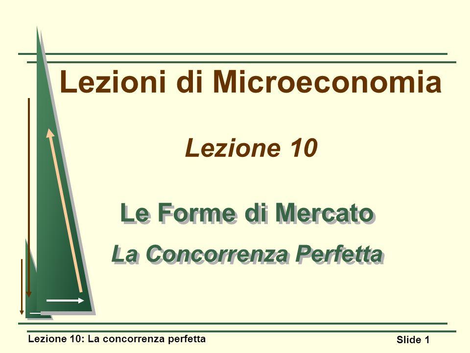 Lezione 10: La concorrenza perfetta Slide 1 Lezioni di Microeconomia Lezione 10 Le Forme di Mercato La Concorrenza Perfetta Le Forme di Mercato La Con