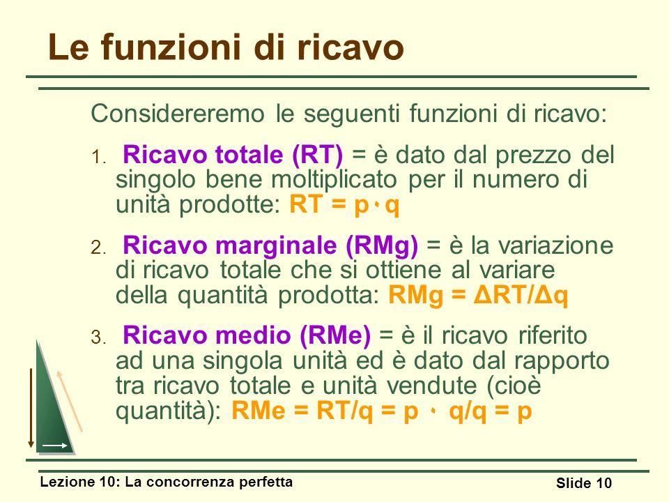 Lezione 10: La concorrenza perfetta Slide 10 Le funzioni di ricavo Considereremo le seguenti funzioni di ricavo: 1. Ricavo totale (RT) = è dato dal pr