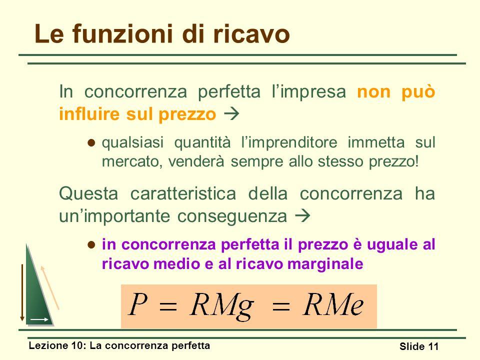 Lezione 10: La concorrenza perfetta Slide 11 Le funzioni di ricavo In concorrenza perfetta limpresa non può influire sul prezzo qualsiasi quantità lim