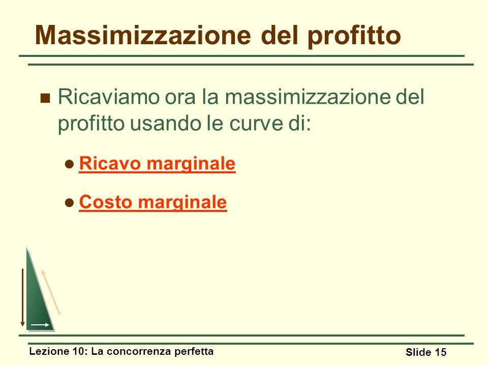 Lezione 10: La concorrenza perfetta Slide 15 Ricaviamo ora la massimizzazione del profitto usando le curve di: Ricavo marginale Costo marginale Massim