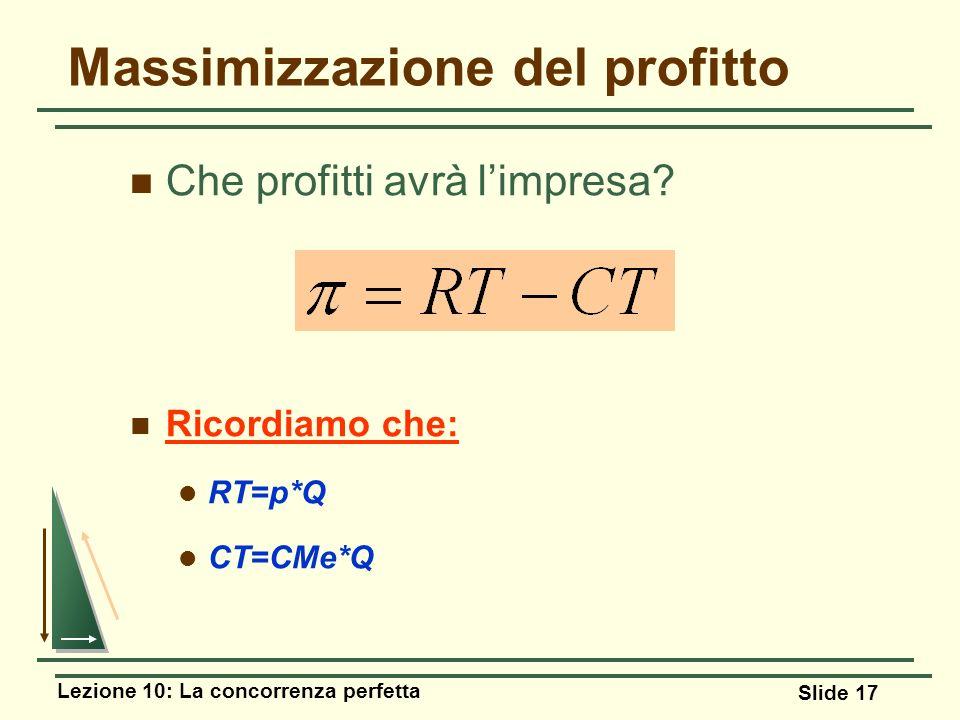 Lezione 10: La concorrenza perfetta Slide 17 Massimizzazione del profitto Che profitti avrà limpresa? Ricordiamo che: RT=p*Q CT=CMe*Q