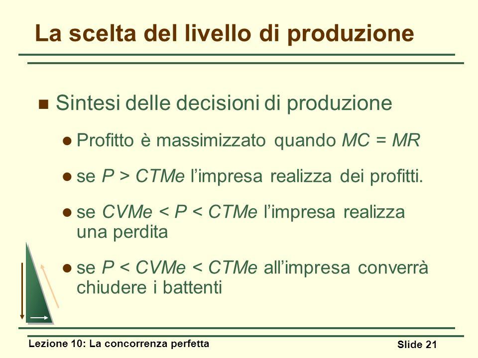Lezione 10: La concorrenza perfetta Slide 21 Sintesi delle decisioni di produzione Profitto è massimizzato quando MC = MR se P > CTMe limpresa realizz