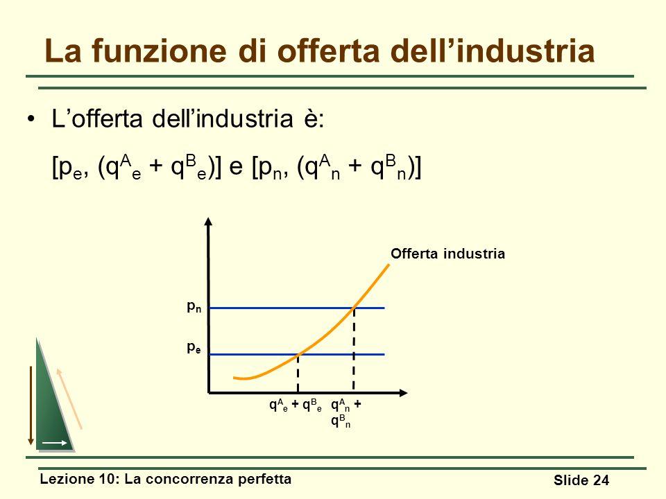 Lezione 10: La concorrenza perfetta Slide 24 Lofferta dellindustria è: [p e, (q A e + q B e )] e [p n, (q A n + q B n )] La funzione di offerta dellin