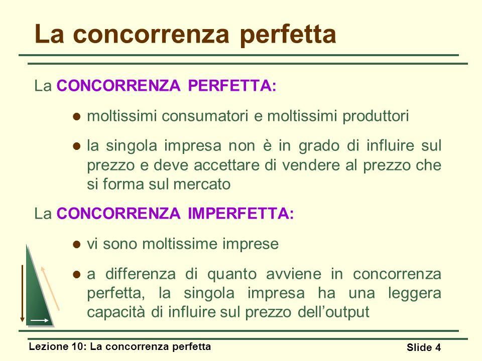 Lezione 10: La concorrenza perfetta Slide 4 La concorrenza perfetta La CONCORRENZA PERFETTA: moltissimi consumatori e moltissimi produttori la singola