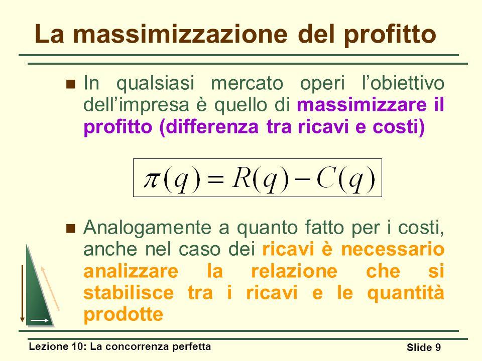 Lezione 10: La concorrenza perfetta Slide 9 La massimizzazione del profitto In qualsiasi mercato operi lobiettivo dellimpresa è quello di massimizzare