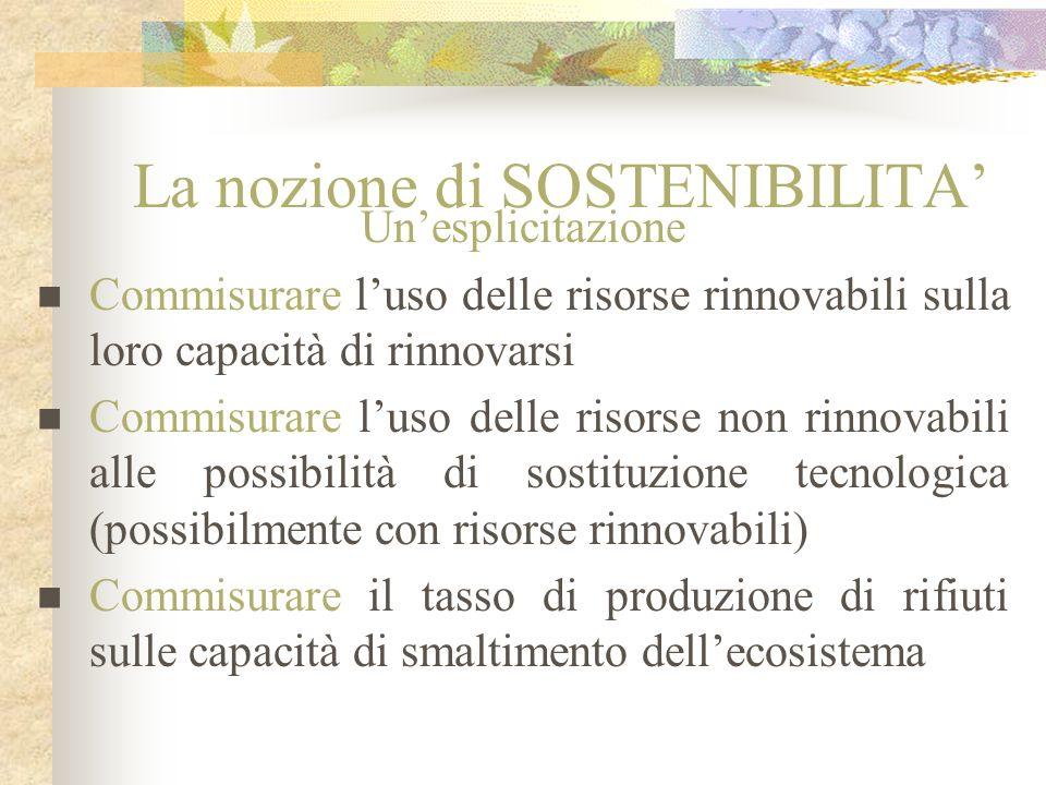 La nozione di SOSTENIBILITA Unesplicitazione Commisurare luso delle risorse rinnovabili sulla loro capacità di rinnovarsi Commisurare luso delle risor