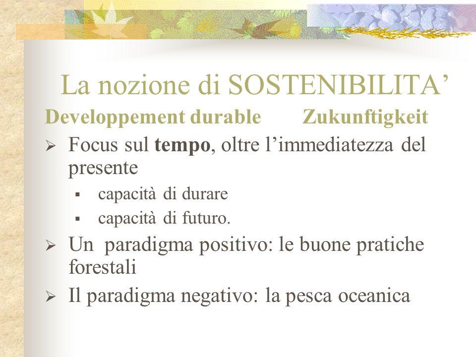 La nozione di SOSTENIBILITA Developpement durable Zukunftigkeit Focus sul tempo, oltre limmediatezza del presente capacità di durare capacità di futur