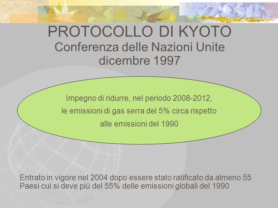 PROTOCOLLO DI KYOTO Conferenza delle Nazioni Unite dicembre 1997 Impegno di ridurre, nel periodo 2008-2012, le emissioni di gas serra del 5% circa ris