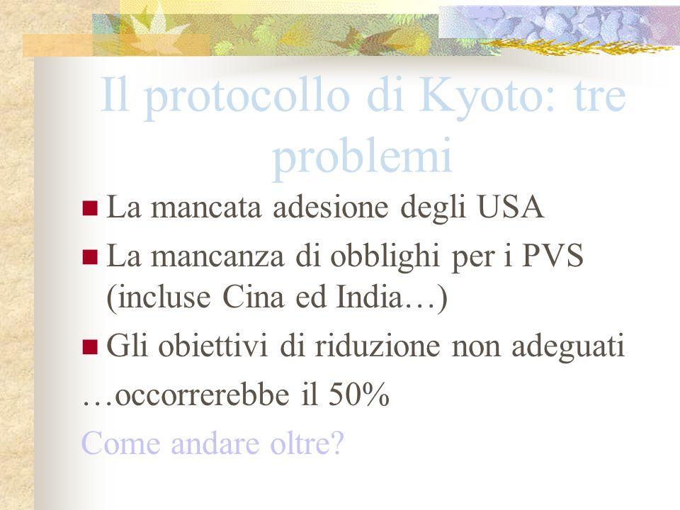 Il protocollo di Kyoto: tre problemi La mancata adesione degli USA La mancanza di obblighi per i PVS (incluse Cina ed India…) Gli obiettivi di riduzio