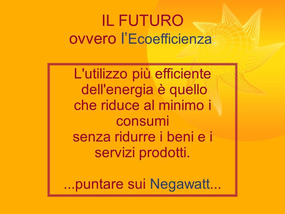 IL FUTURO ovvero l Ecoefficienza: L'utilizzo più efficiente dell'energia è quello che riduce al minimo i consumi senza ridurre i beni e i servizi prod