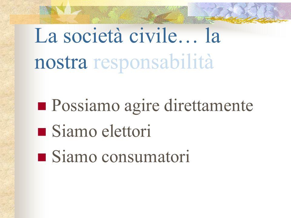 La società civile… la nostra responsabilità Possiamo agire direttamente Siamo elettori Siamo consumatori