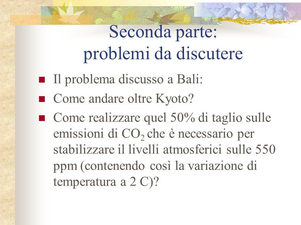 Il problema discusso a Bali: Come andare oltre Kyoto? Come realizzare quel 50% di taglio sulle emissioni di CO 2 che è necessario per stabilizzare il