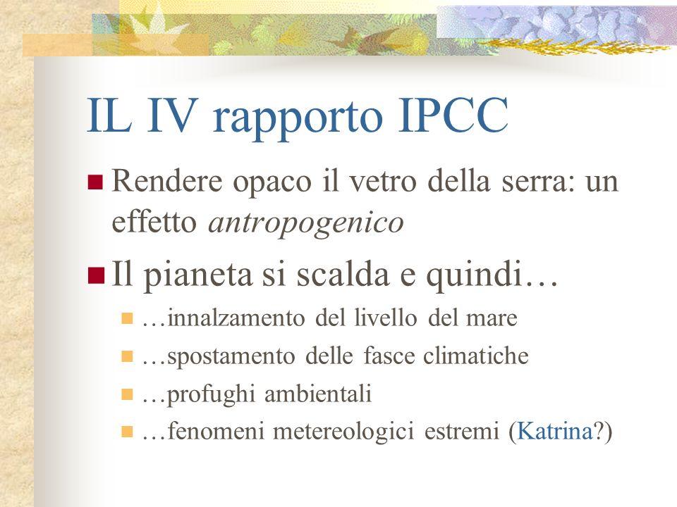 IL IV rapporto IPCC Rendere opaco il vetro della serra: un effetto antropogenico Il pianeta si scalda e quindi… …innalzamento del livello del mare …sp