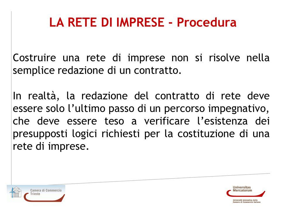 LA RETE DI IMPRESE - Procedura Costruire una rete di imprese non si risolve nella semplice redazione di un contratto. In realtà, la redazione del cont
