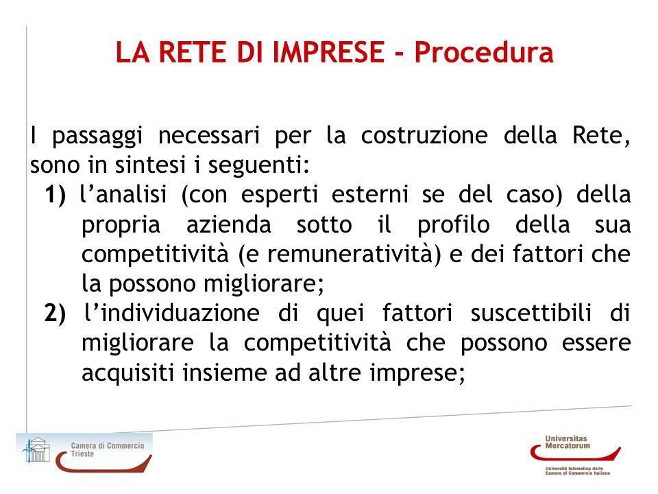 LA RETE DI IMPRESE - Procedura I passaggi necessari per la costruzione della Rete, sono in sintesi i seguenti: 1) lanalisi (con esperti esterni se del