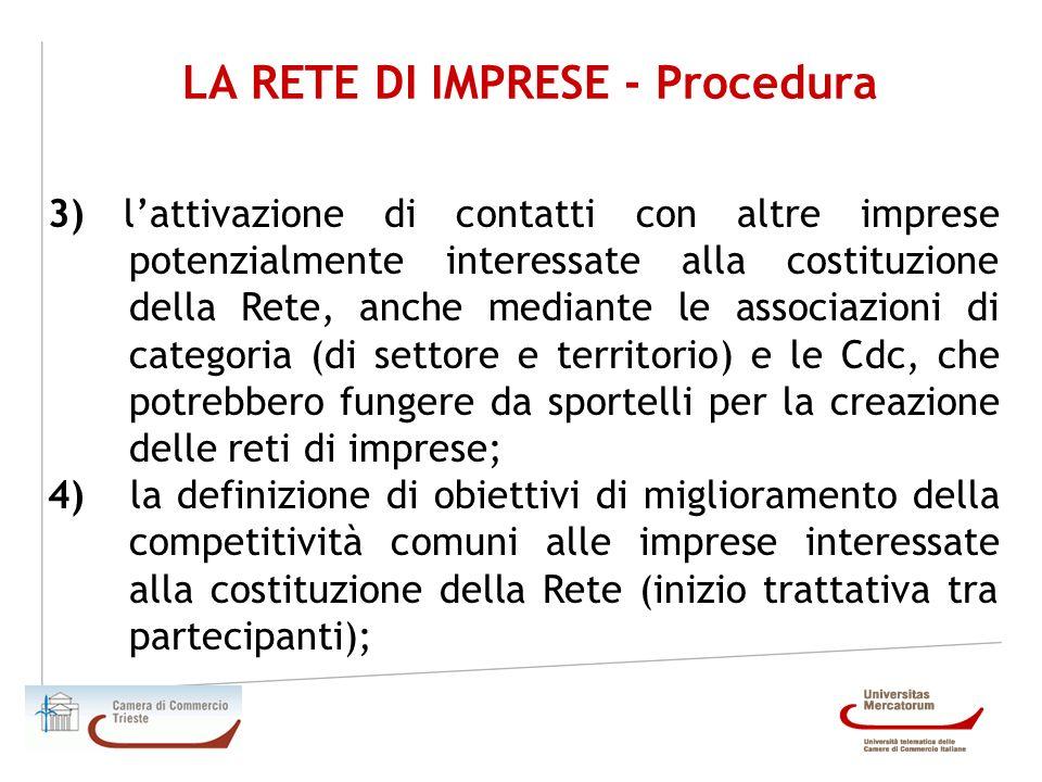 LA RETE DI IMPRESE - Procedura 3) lattivazione di contatti con altre imprese potenzialmente interessate alla costituzione della Rete, anche mediante l